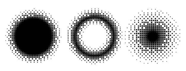 Conjunto de estilo de semitono de círculos y marcos de píxeles