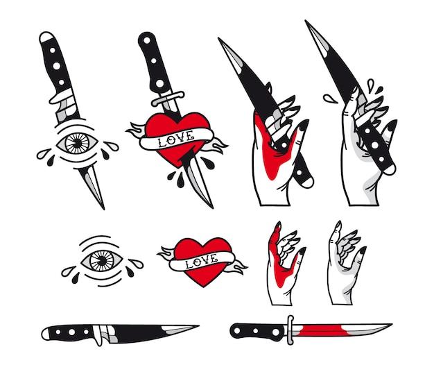 Conjunto de estilo de tatuaje tradicional: corazones, cuchillo, ojo, mano, cintas.