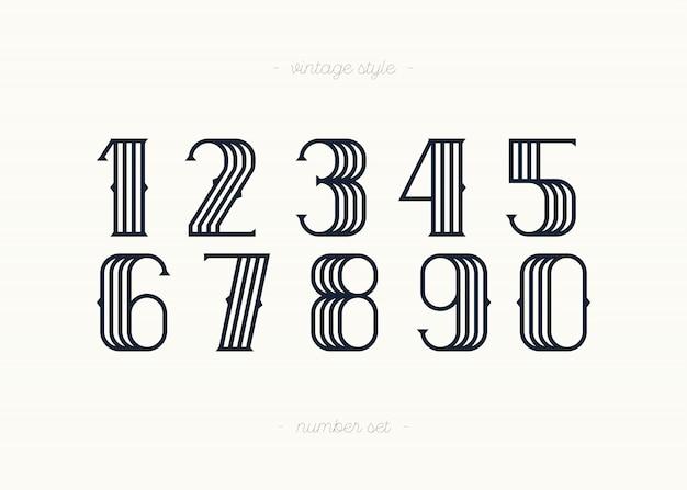 Conjunto de estilo vintage de números de vector