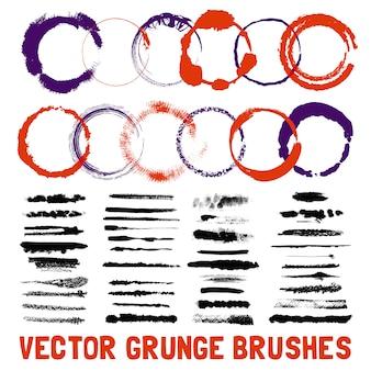 Conjunto de estilos de pincel de círculo con tinta
