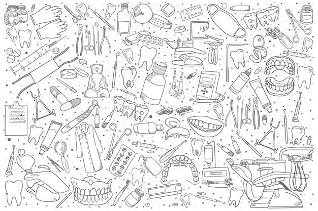 Conjunto de estomatología dibujado a mano