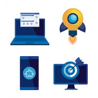 Conjunto de estrategia comercial con tecnología de oficina e informe