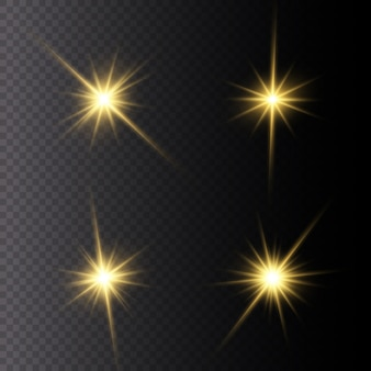 Conjunto de estrella brillante. la luz amarilla brillante explota en un transparente