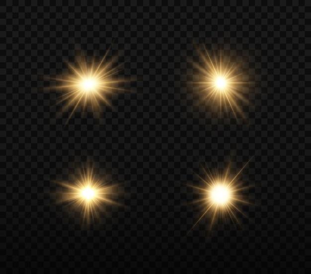 Conjunto de estrella brillante la luz brillante dorada explota sobre un fondo transparente