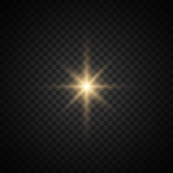 Conjunto de estrella con destellos. luz amarilla. polvo espumoso.