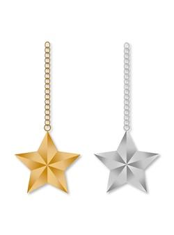 Conjunto de estrella navideña con plantilla de cadena