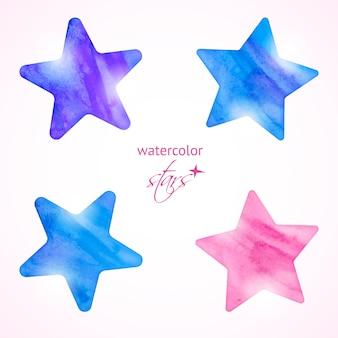 Conjunto de estrellas acuarela