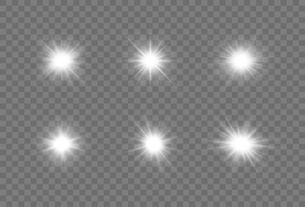 Conjunto de estrellas blancas brillantes efecto de luz estrella brillante estrella de navidad