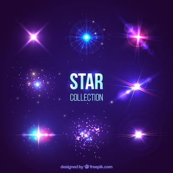 Conjunto de estrellas brillosas