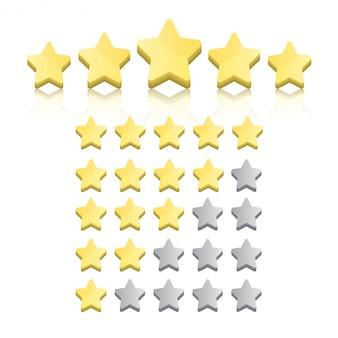 Conjunto de estrellas de calificación aislado en blanco