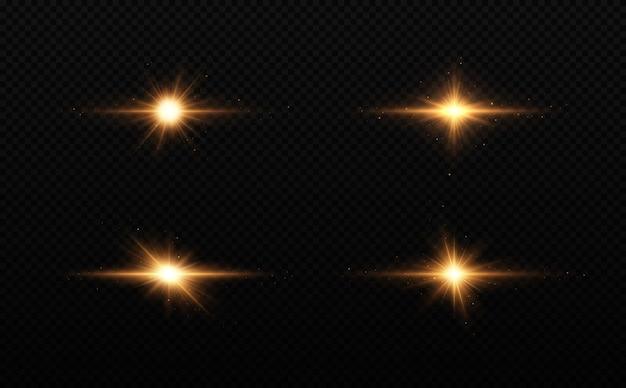 Conjunto de estrellas doradas brillantes efecto de luz estrella brillante estrella de navidad