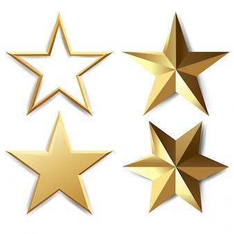 Conjunto de estrellas doradas
