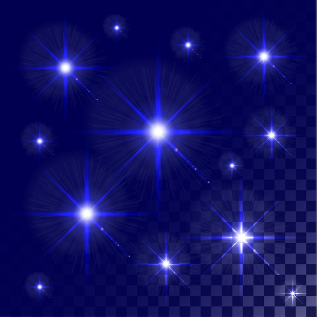 Conjunto de estrellas de efecto de luz azul brillante estalla