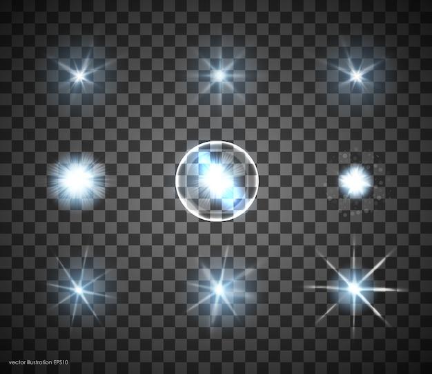Conjunto de estrellas de efecto de luz brillante sobre fondo transparente. estrellas transparentes.
