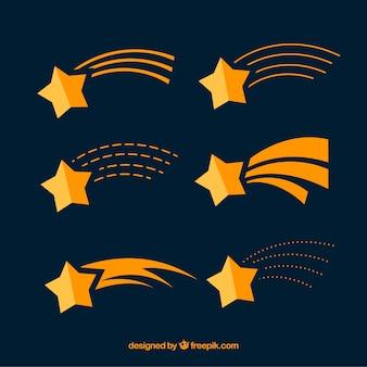 Conjunto de estrellas fugaz flat