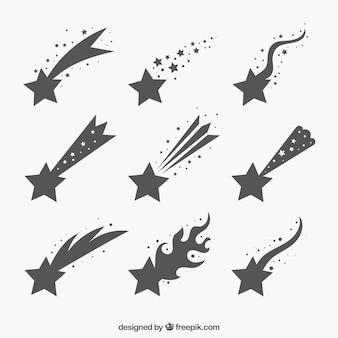 Conjunto de estrellas fugaz grises