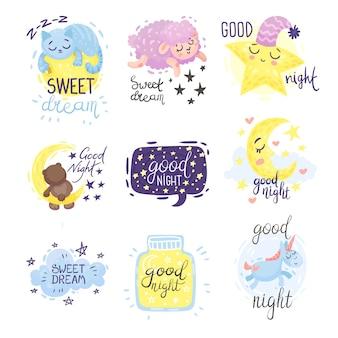 Conjunto de estrellas con la inscripción buenas noches.
