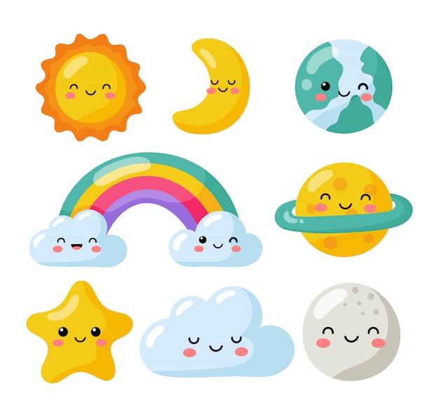 Conjunto de estrellas kawaii, luna, sol, arco iris y nubes aisladas sobre fondo blanco. bebé lindo colores pastel.