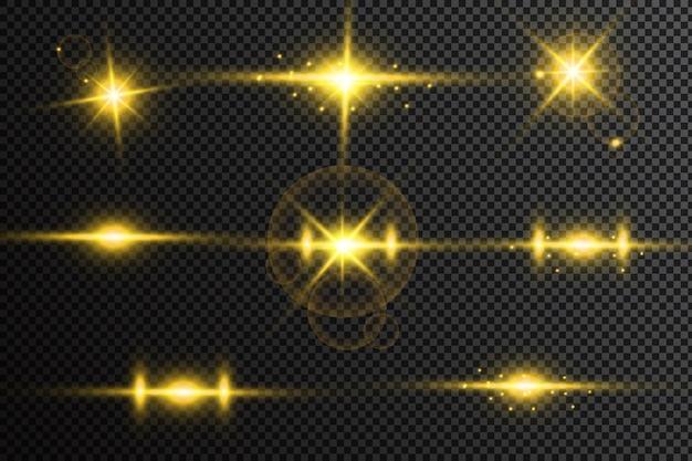 Conjunto de estrellas de luz brillantes con destellos. efecto de luz.