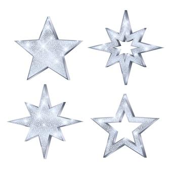 Conjunto de estrellas navideñas plateadas