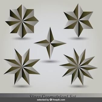 Conjunto de estrellas de oro y plata