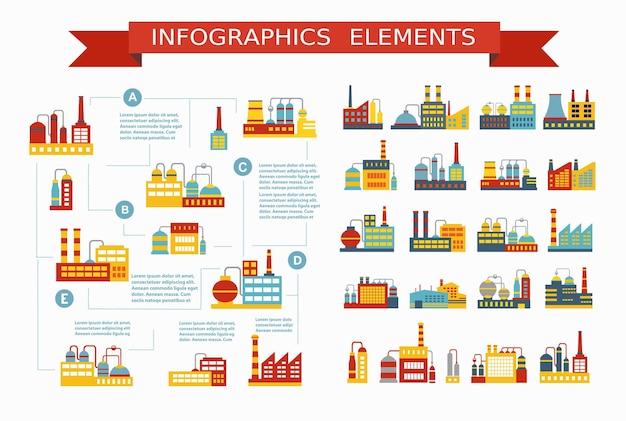 Conjunto de estructuras y edificios industriales y residenciales para la construcción y diseño y presentaciones de diseño infográfico.