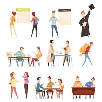 Conjunto de estudiantes cerca de horario