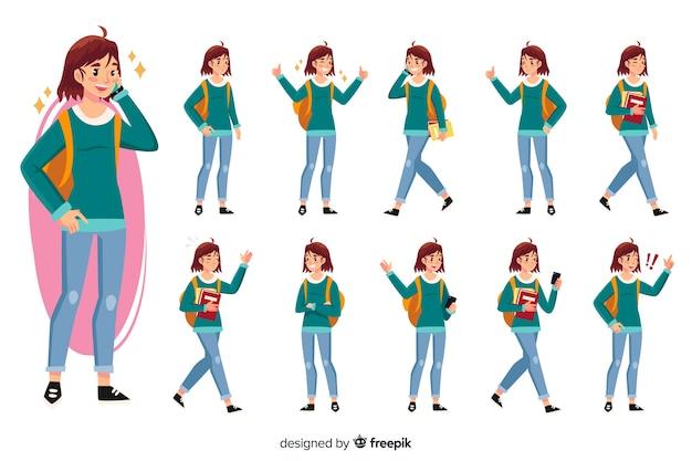 Conjunto de estudiantes con diferentes posturas