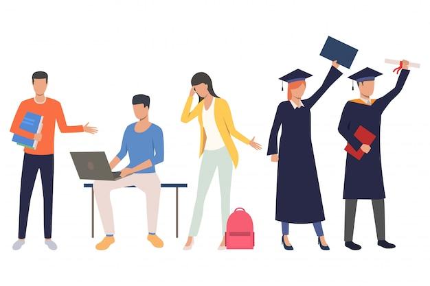 Conjunto de estudiantes de graduación