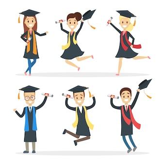 Conjunto de estudiantes graduados. gente feliz saltando con diploma.