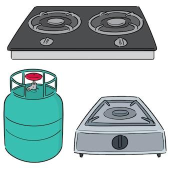 Conjunto de estufa de gas
