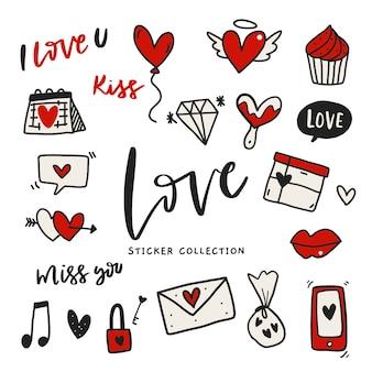 Conjunto de etiqueta adhesiva de amor dibujados a mano