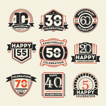 Conjunto de etiqueta aislada vintage de celebración de aniversario