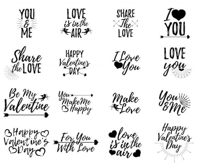 Conjunto de etiqueta de amor. fuente con pincel. insignias del día de san valentín.