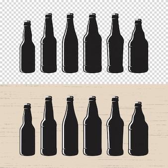 Conjunto de etiqueta de botella de cerveza artesanal con textura.