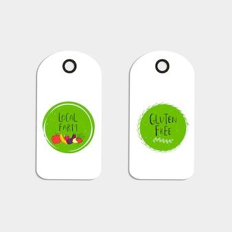 Conjunto de etiqueta ecológica, logo bio verde. plantilla de diseño orgánico.