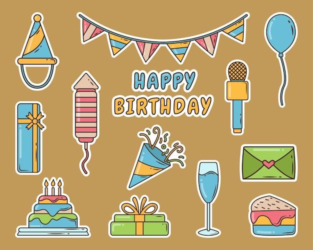 Conjunto de etiqueta engomada del doodle de la historieta de la fiesta de cumpleaños dibujada a mano