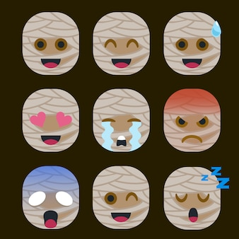 Conjunto de etiqueta engomada del emoticon de la momia aislada