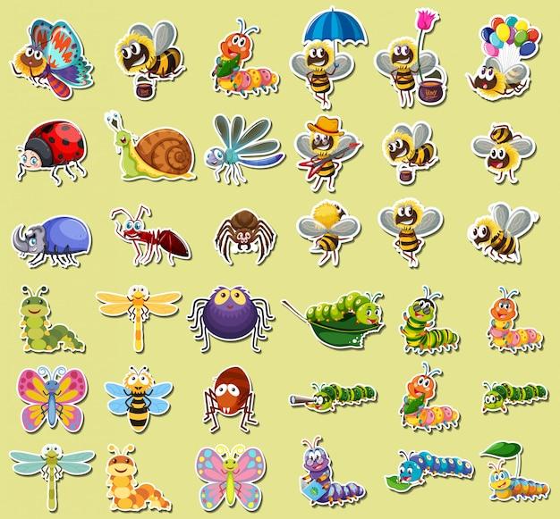 Conjunto de etiqueta de insecto
