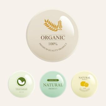 Conjunto de etiqueta natural y botón brillante orgánico.