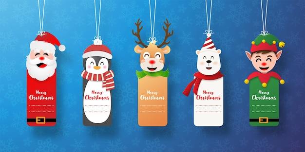 Conjunto de etiqueta navideña con santa claus y amigos.