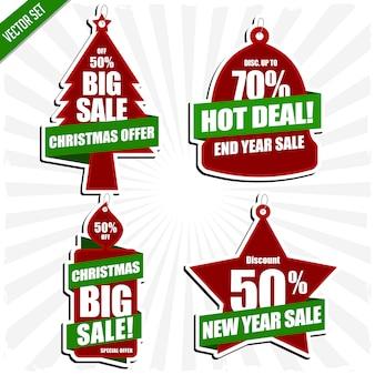 Conjunto de etiqueta promoción promoción ventas navidad y año nuevo vector