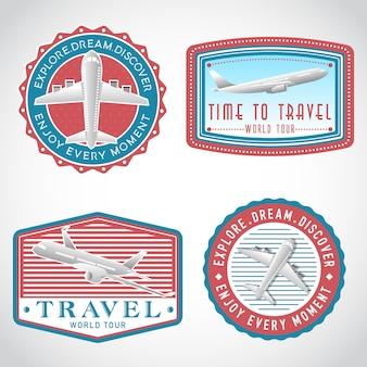 Conjunto de etiqueta de vector de transporte de avión, plantilla de logotipo