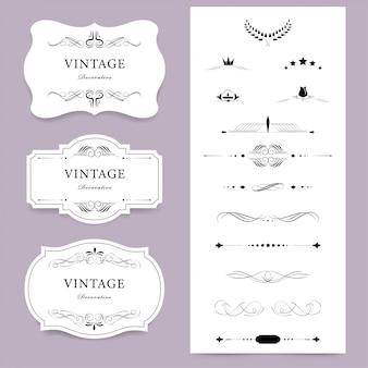 Conjunto de etiqueta de la vendimia. diseño de decoración de lujo. diseño de elementos vintage.