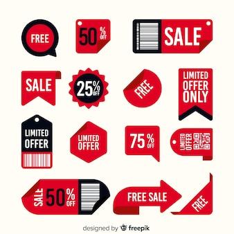 Conjunto de etiqueta de venta con diferentes ofertas.