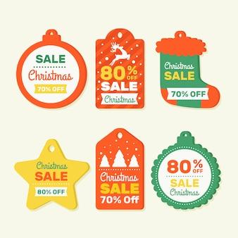 Conjunto de etiqueta de ventas para productos navideños