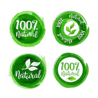 Conjunto de etiquetas 100% natural