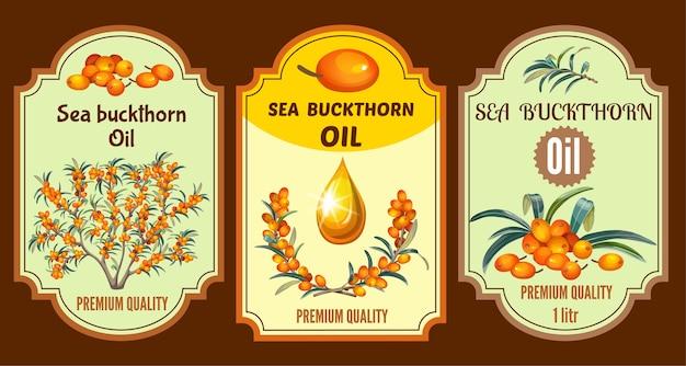 Conjunto de etiquetas de aceite de espino amarillo