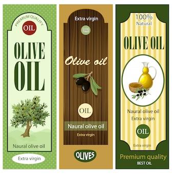 Conjunto de etiquetas de aceite de oliva de dibujos animados