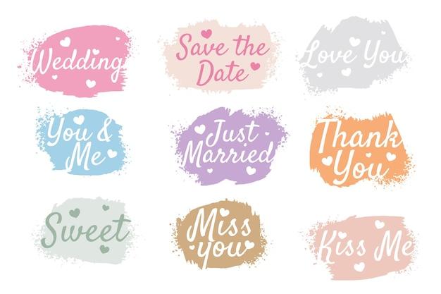 Conjunto de etiquetas de acuarela de aniversario de boda de nueve